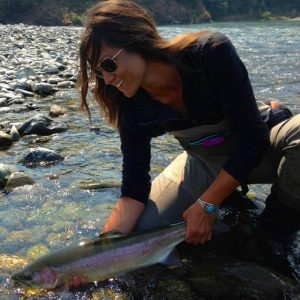Leslie taking care of her work with a chrome Steelhead