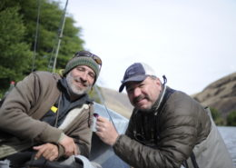 Dave and Dec talking flies on the Deschutes last year.